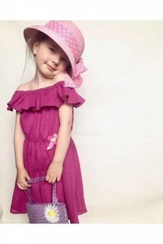 Летнее платье для девочки с воланом Bon&Bon, фуксия, 2-4 лет