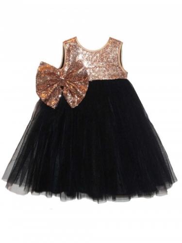 Платье для девочки Bon&Bon с пайетками, черное, 2-5 лет