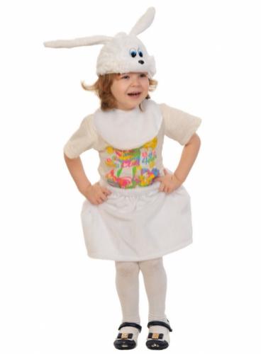 Карнавальный костюм Зайка белая Лайт (манишка, юбка, маска) 3-5 лет