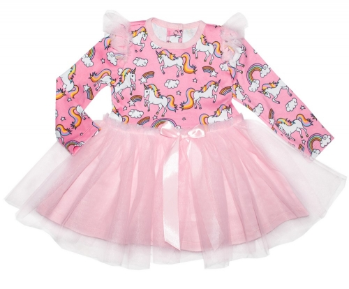 Платье для девочки с длинным рукавом Bon&Bon Единороги, розовое, 1-5 лет