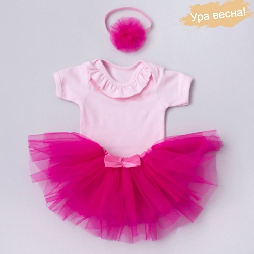 Комплект для девочки Клубника весна-осень Крошкин дом р.24 (рост 74-80см), розовый