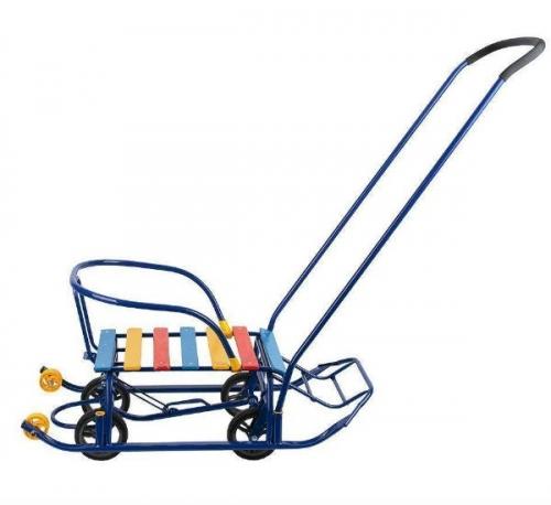 Санки Galaxy Мишутка 1 с колесами, цвет синий