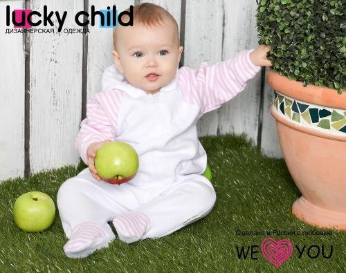 Комбинезон Lucky Child ПОЛОСКИ с капюшоном на молнии (арт. 4-13 бело-розовый),размер 24 (74-80)