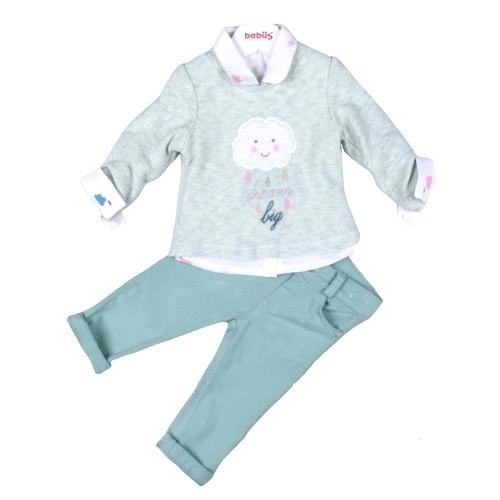 Комплект 3 предмета для девочки, размер 24 месяца, фисташковый, Bebus