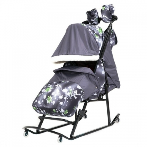 Санки-коляска Kristy Comfort 2014 K 1.3 узор снежинки, цвет серо-зеленый