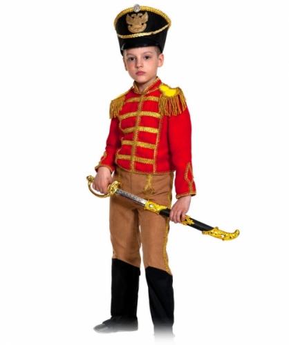 Карнавальный костюм Гусар (замш) красно-бежевый с сапогами new, 9-10 лет