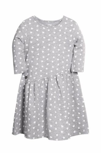 Платье для девочки р.98, серый меланж с сердечками UMKA