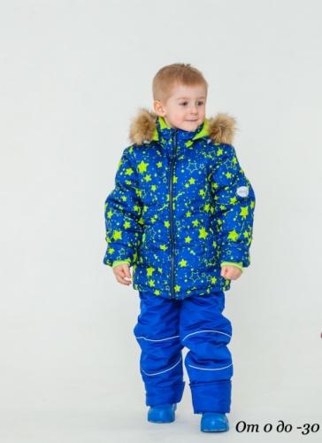Комплект для мальчика демисезонный, колор №3 васильковый/принт салатовые звезды, р. 30 (рост 104-110), MODUS Kids