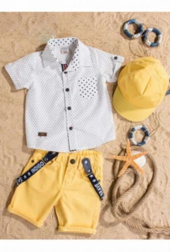 Комплект Bebus белый/желтый с головным убором, размер 18 месяцев