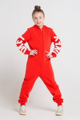 Комбинезон для девочек, Сrockid ярко-красный, размер 122