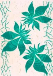 Декор Береза-керамика Магия фантазия зеленый 25х35