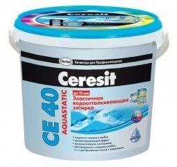 Затирка Ceresit СЕ 40 Aquastatic для швов до 10 мм эластичная водоотталкивающая противогрибковая зеленый (2кг)