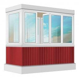 Остекление балкона ПВХ Rehau с отделкой вагонкой без утепления 2.4 м Г-образное