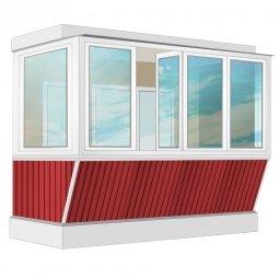 Остекление балкона ПВХ Rehau с выносом и отделкой ПВХ-панелями с утеплением 3.2 м Г-образное