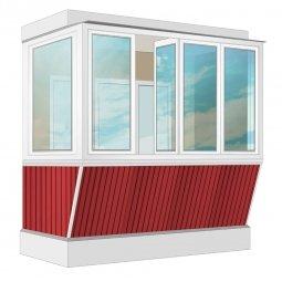 Остекление балкона ПВХ Rehau с выносом и отделкой ПВХ-панелями без утепления 2.4 м Г-образное