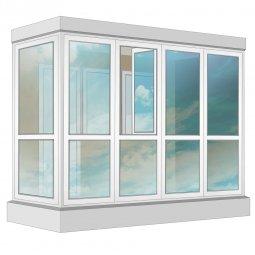 Остекление балкона ПВХ Exprof в пол с отделкой вагонкой без утепления 3.2 м Г-образное