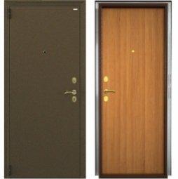 Стальная дверь Гардиан Фактор К медный антик/светлый орех левая 2 замка  980x2050 мм