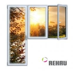 Балконный блок ПВХ Rehau 2100х2100 мм 2-ЛГ-ППО 1 стеклопакет